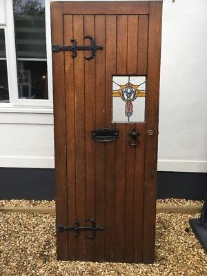 Solid Oak Stained Glass Front Door Antique Period Old Reclaimed Lead Wood Irons