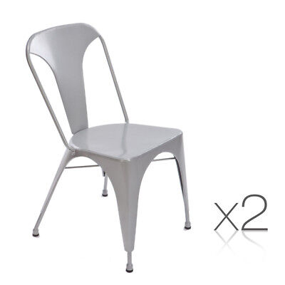 Set of 2 Steel Dining Chair Silver