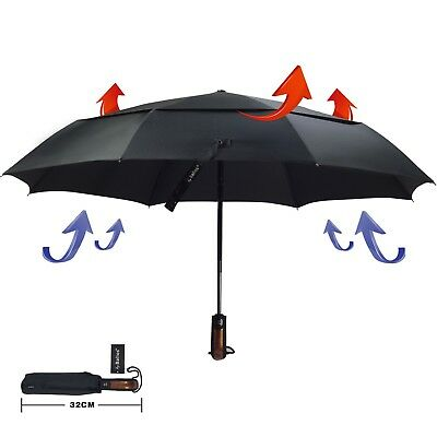 Jet Black Umbrella Rubber Coated Handle Auto Open Close Windproof Double Canopy