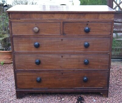 Original Antique Late Georgian Mahogany Two Over Three Chest Of Drawers