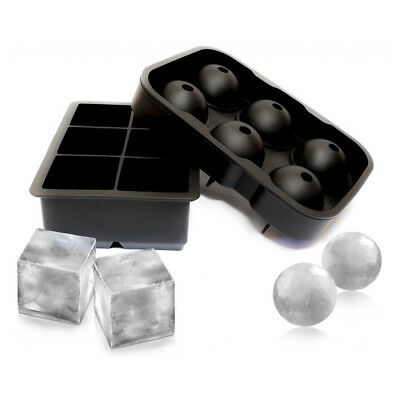 Silicone Tray Combo (2pack) Large Ice Ball Spheres and Big Ice Cube Blocks Cockt