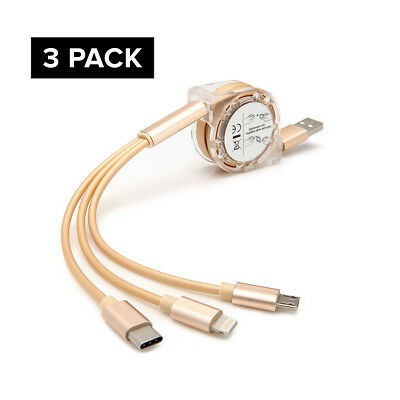 3 pack New 3 in 1 Retractable Fast Chargin Cable With Micro USB Type C Adapter F