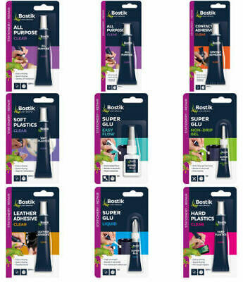Bostik Super Glue Range Glu Contact Adhesive Extra Strong Clear Leather Plastic