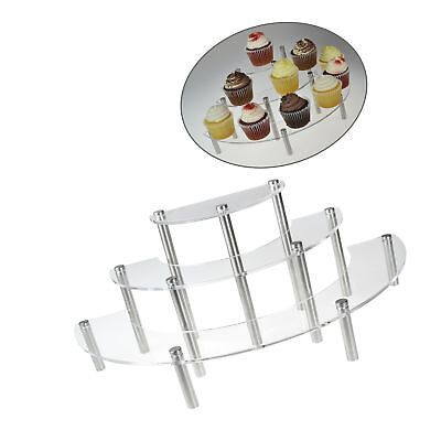 Clear Acrylic 3 Tier Half Moon Shelf Unit, Table Top Retail Display Riser, Sp...