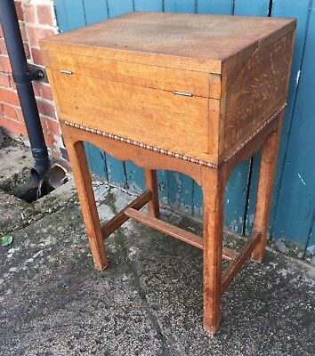 Vintage Golden Oak Wooden Sewing Craft Embroidery Haberdashery Box on Stand