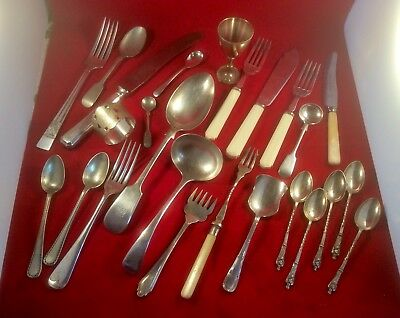 Job Lot Antique Victorian Silver Plate Epns Jam,salt Spoons,ladle,forks,apostle