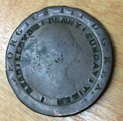 """Advertising Counterstamp 1700's UK LARGE Penny """"Read Lloyd's Penny Sunday Times"""""""