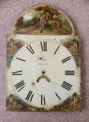 Antique Grandfather Clock Dial,E.TELFORD CARLISLE,Hand Painted Enamel,Victorian