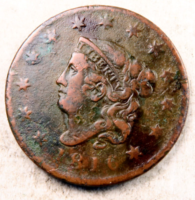 1816 Coronet Head Large Cent // VF (details) // (LC835)