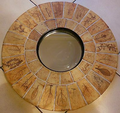 Very Large Mirror Round Ceramic Adorned With Leaves, Roger Capron - 1960