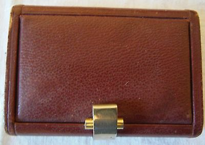 Antique Case Box For Business Cards Wooden Covered Leather