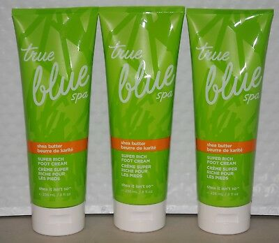 Bath & Body Works True Blue Spa Shea Butter Super Rich Foot Cream 8 oz each x 3