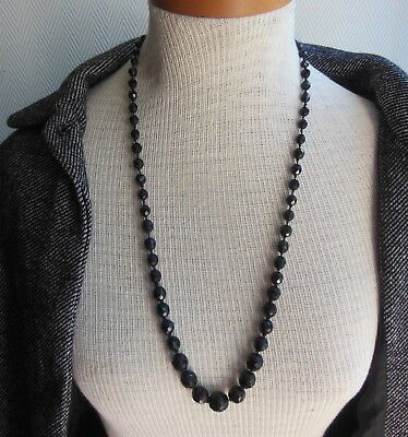 NECKLACE ANTIQUE -pure ART DECO -1925 - Jet French -Very BIG BEADS