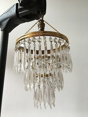 French vintage crystal waterfall art-deco chandelier. Three tier. Height 60cm