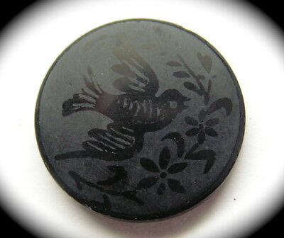 Antique Button ~ Medium Victorian Era Black Glass w Acid Etched Bird
