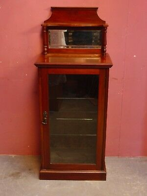 Narrow Antique Edwardian Display Shop Cabinet With Adjustable Glass Shelves