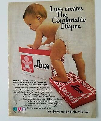 1981 LUVS disposable baby diapers flexible gathers hourglass design fit ad
