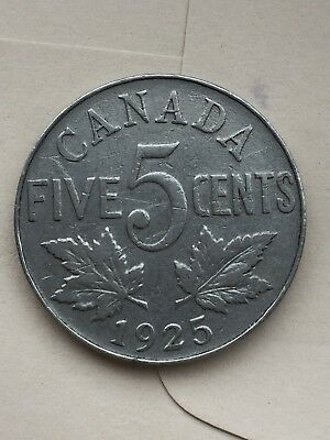 1925 Canada Canadian Nickel 5c - good honest coin with even wear - see PICS!