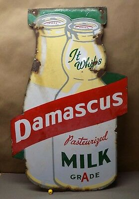 DAMASCUS DAIRY 2-side milk bottle enamel advertising sign RARE Portland OR 1940s