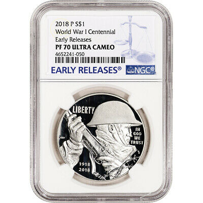 2018-P US World War I Commemorative Proof Silver Dollar NGC PF70 Early Releases