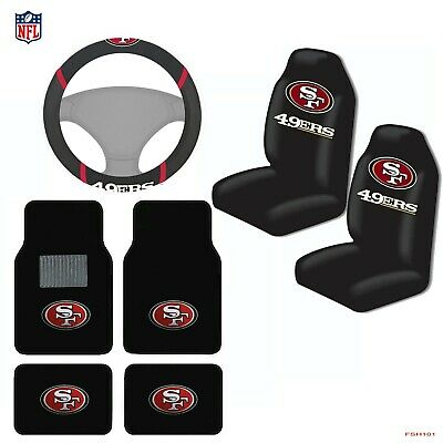 763576e6fd3 NFL San Francisco 49ers Car Truck Seat Covers Floor Mats Steering Wheel  Cover