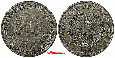 Paraguay Copper-Nickel 1908 20 Centavos AU/UNC 1 YEAR TYPE Toned KM# 11(#10125)