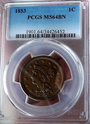 1853 Braided Hair Large Cent; PCGS MS64 Brown; Scarce In High Grade