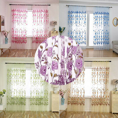 Peony Home Floral Tulle Voile Door Window Curtain Drape 1 Panel Scarf Valances