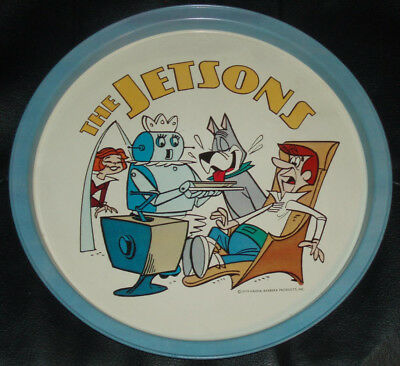 """1979 The Jetsons Circle Metal Serve Tray 10 3/4"""" wide. Hanna-Barbera. Good Color"""