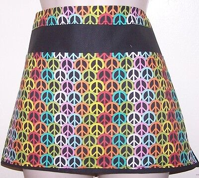 Colorful peace sign design waitress server waiter apron 3 pockets