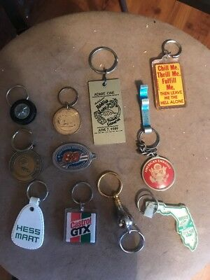 Old  Vintage Key Chain Lot Of 10 Hess Mart Rare