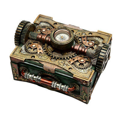 STEAMPUNK Jewelry / Trinket Box with Functional Compass - Brand New