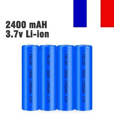 1/2/4 pièce 18650 Batterie Accu 2400mAh 3.7V Li-ion Rechargeable Battery