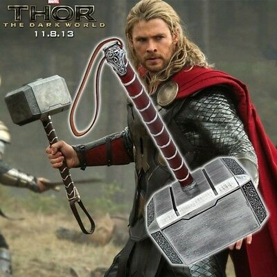 1:1The Avengers Full Metal Thor Dark World Hammer Mjolnir Mens Cosplay Prop