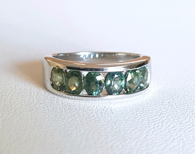Green Sapphire Ring, size 6 US, Sterling Silver, Natural Gemstone, Item #0120