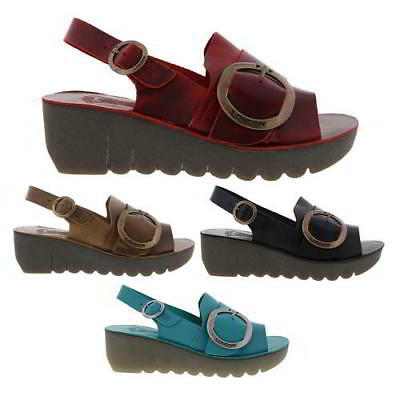 bc0c4192f49d5d Fly London Yidi Womens Wedge Sandals Black Brown Red Blue Leather Shoes  Size 4-8