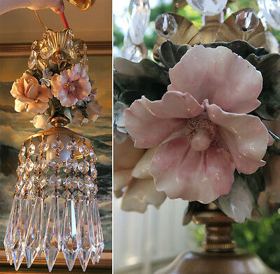 Porcelain Capodimonte Beaded Hibiscus Rose Brass chandelier Swag vintage lamp