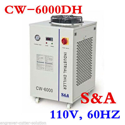 S&A 110V, 60HZ CW-6000DH Industrial Water Chiller for 100W or 80W CO2 Laser Tube