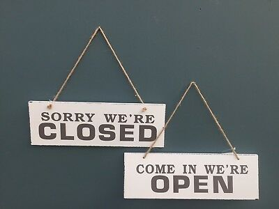 Hanging Wooden Plaque Reversible Open and Closed Sign Shop ,Office,Sign