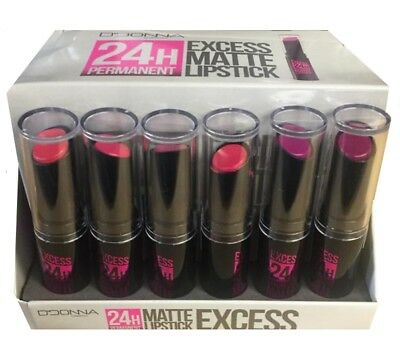 Lot 6 Rouge A Levre Matte Excess Tenue 24H Permanent Tons Rose Mat Maquillage