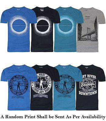 Mens Ex UK Chainstore Printed T Shirt Cotton Crew Neck Graphic Summer Top New
