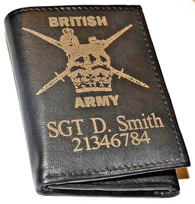 British Army Personalised Gift Wallet Engraved With Name/number Genuine Leather