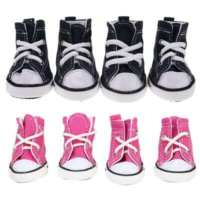 4pcs Denim Pet Dog Shoes Anti-slip Waterproof Sporty Sneakers Breathable Booties