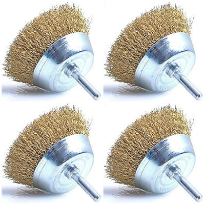 "4x Wire Cup Brushes For Rotary Power Drill 3"" 75mm Steel Brass Copper Wire Brush"