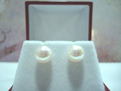 BOUCLES OR JAUNE 18 CARATS 750/000 PERLES AKOYA JAPON 7.6 mm 2.00 gr ALPA R35262