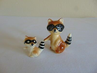 Two Vintage Ceramic Raccoon Figurines Free Shipping