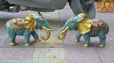 Old China Fengshui bronze Cloisonne Gilt wealth bat lucky Animal Elephant statue