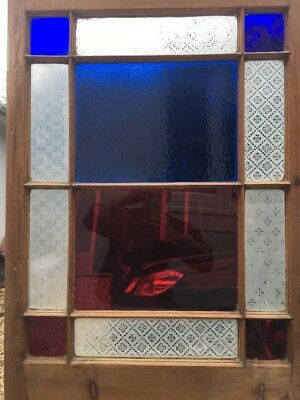 Victorian Stained Glass Door Etched Reclaimed Period Wood Old Antique Kitchen