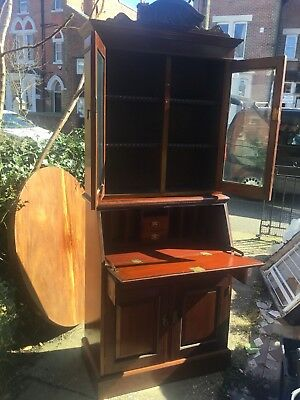 Antique Repro Edwardian Bureau With Glazed Bookcase Delivery Possible