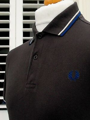 Fred Perry M1200 Brown Twin Tipped Pique Polo - S/M - Ska Mod Scooter Workwear